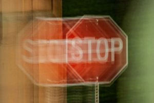 A blurry stop sign